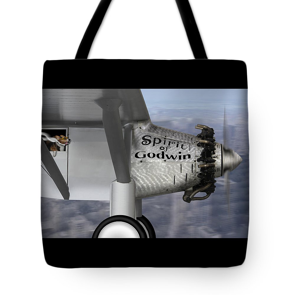Dogs Tote Bag featuring the photograph Postcards From Otis - Corgi Crossing by Mike McGlothlen