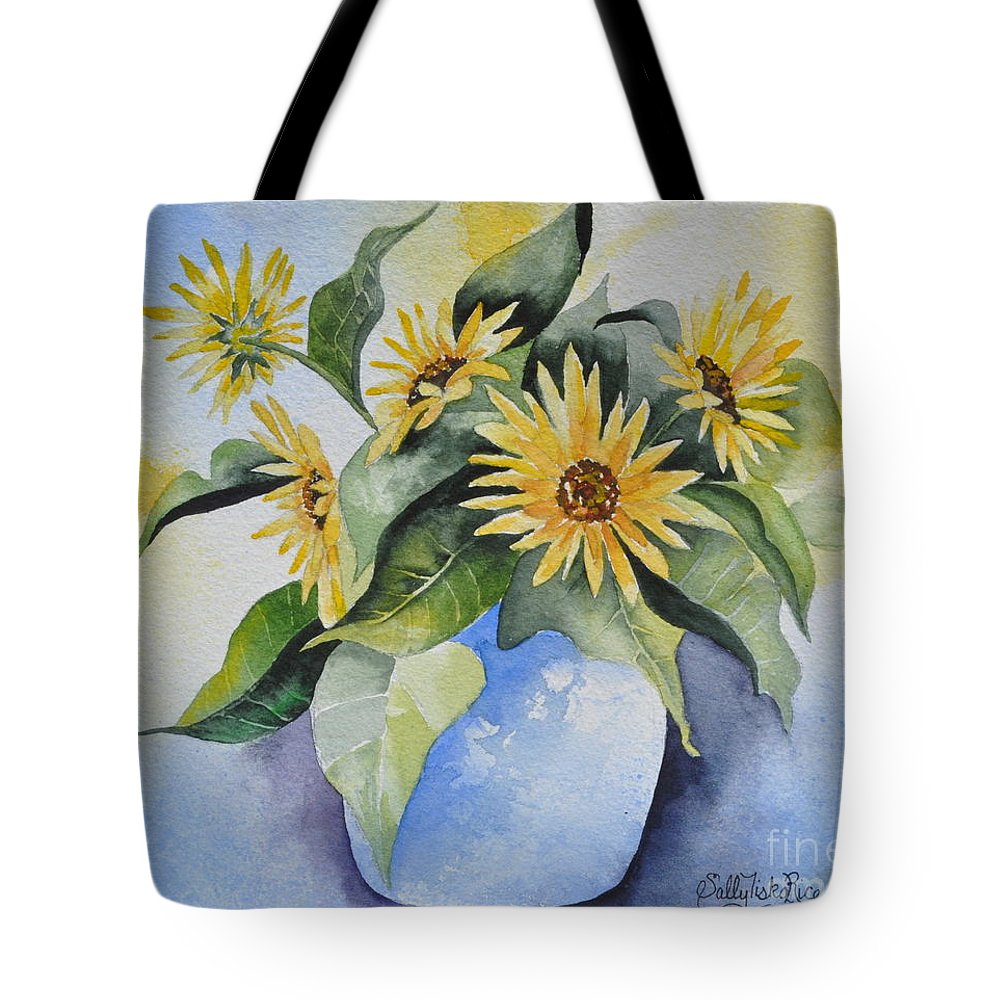 Pot Of Gold Tote Bag featuring the painting Pot Of Gold by Sally Rice