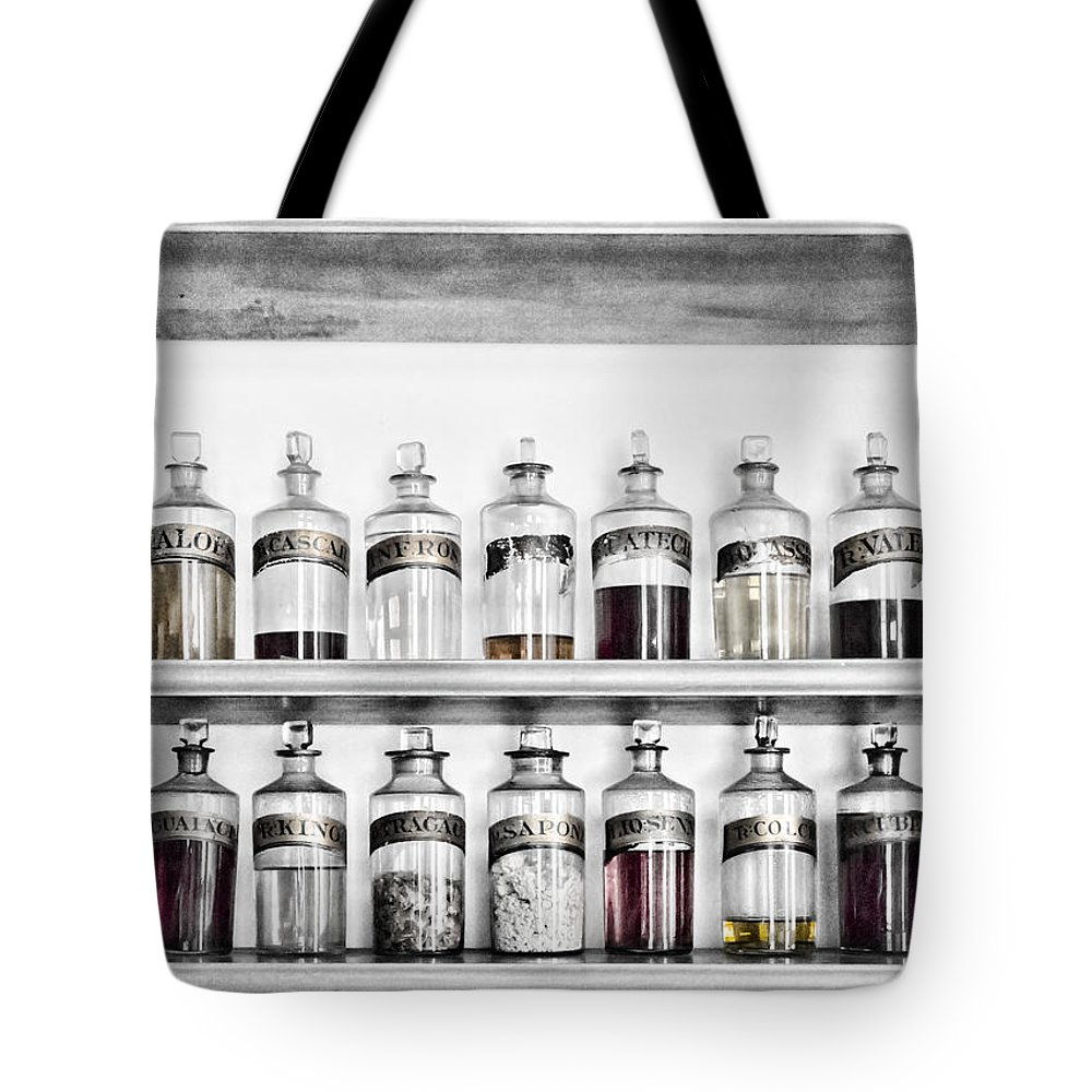 Bottle Tote Bag featuring the photograph Potions Galore by Sharon Popek