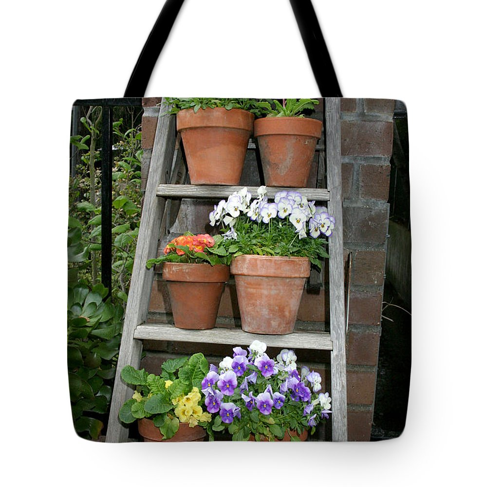 Flower Tote Bag featuring the photograph Potted Flower On Ladder by Kathy Hutchins