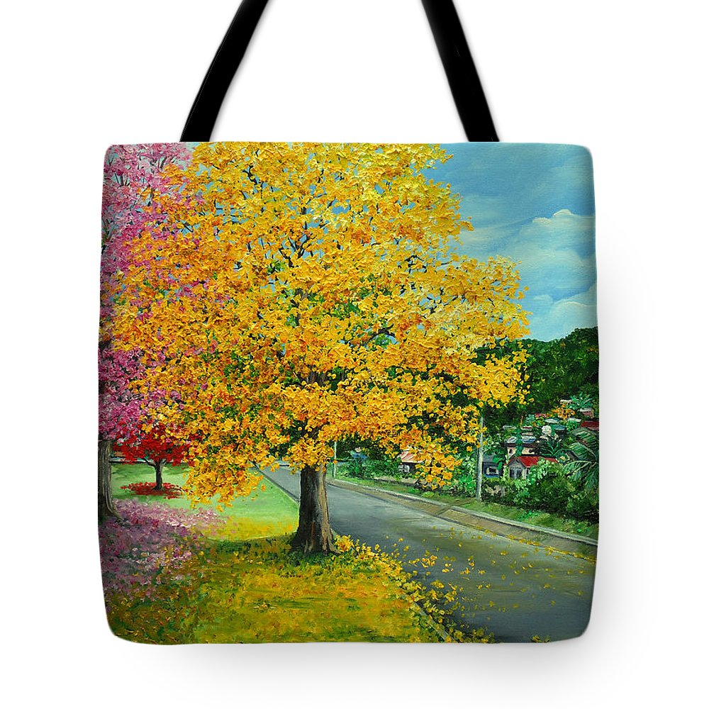 Poui Trees Tote Bag featuring the painting Poui In Diego by Karin Dawn Kelshall- Best