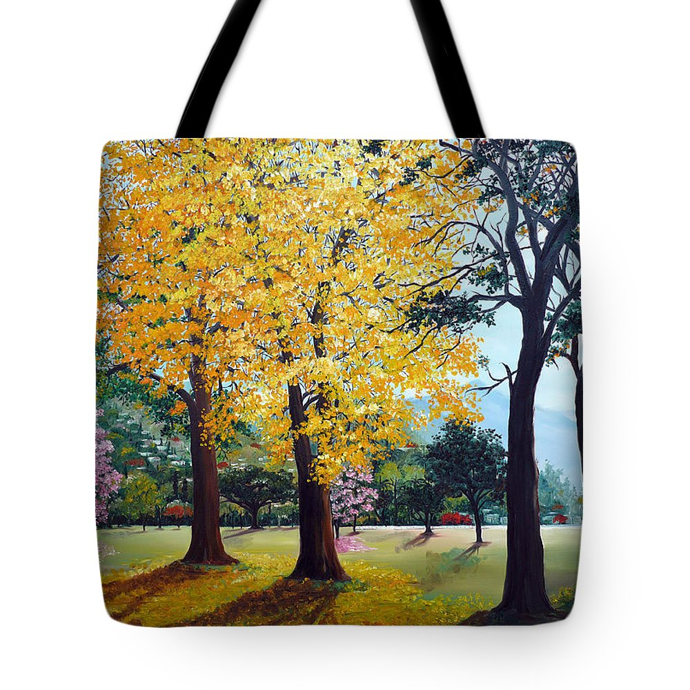 Tree Painting Landscape Painting Caribbean Painting Poui Tree Yellow Blossoms Trinidad Queens Park Savannah Port Of Spain Trinidad And Tobago Painting Savannah Tropical Painting Tote Bag featuring the painting Poui Trees In The Savannah by Karin Dawn Kelshall- Best