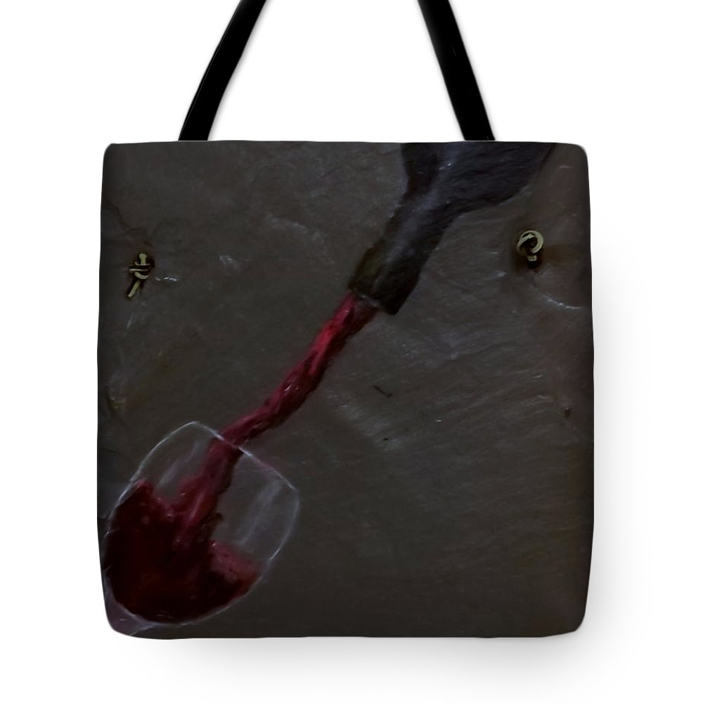 Wine Tote Bag featuring the painting Pouring Bottle by Gino Didio