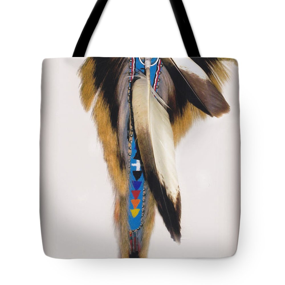 Indian Tote Bag featuring the photograph Pow Wow Regalia - White by Glenn Aker