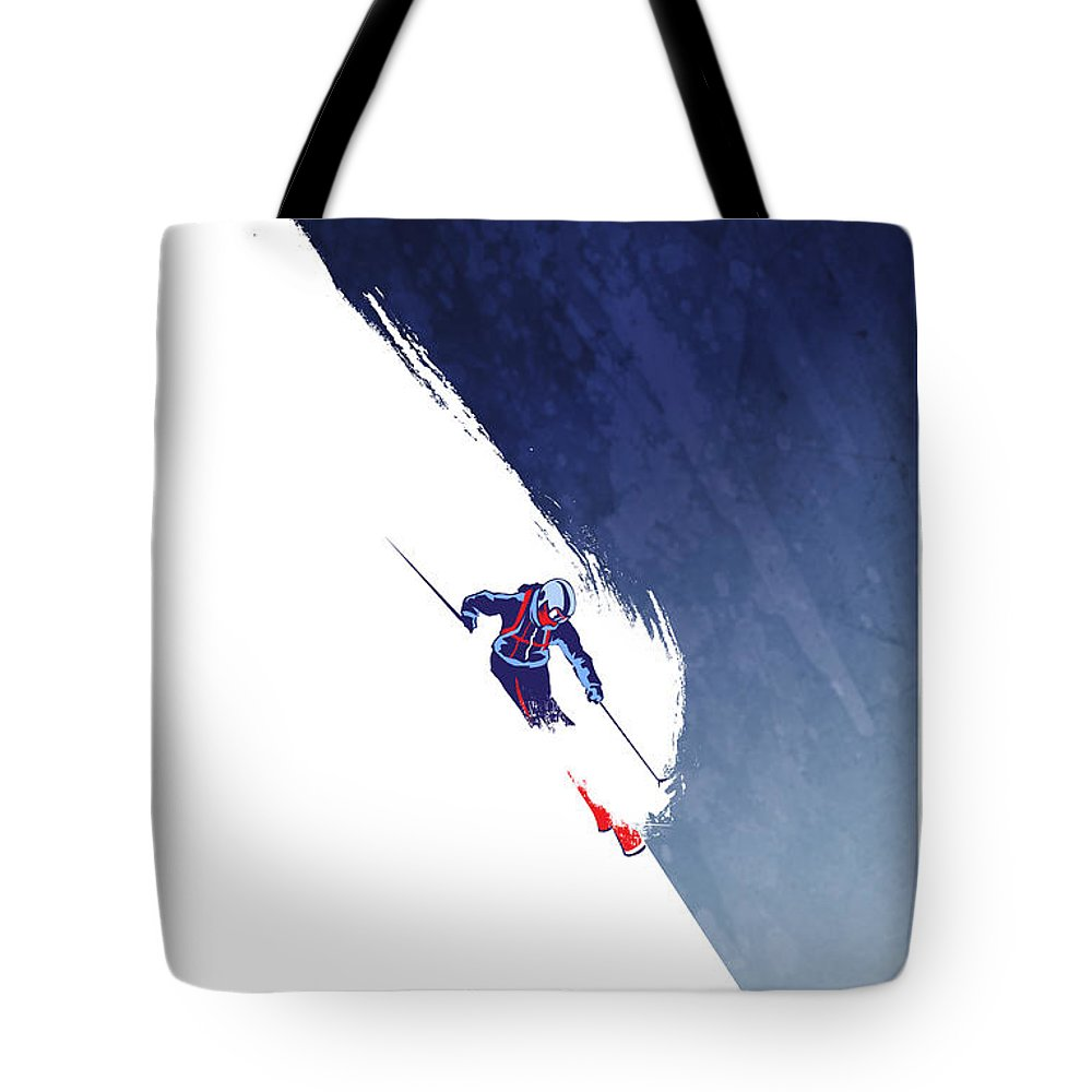 Ski Tote Bag featuring the painting Powder to the People by Sassan Filsoof