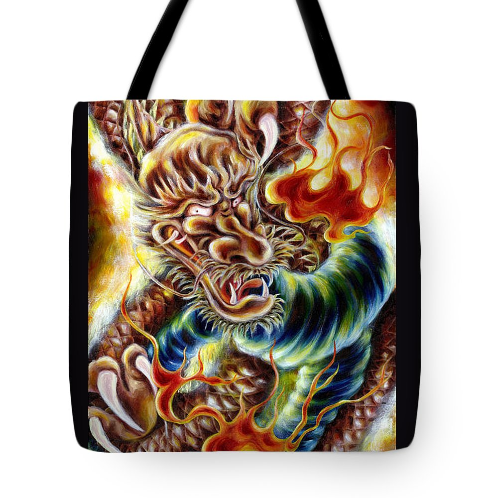 Caving Tote Bag featuring the painting Power Of Spirit by Hiroko Sakai