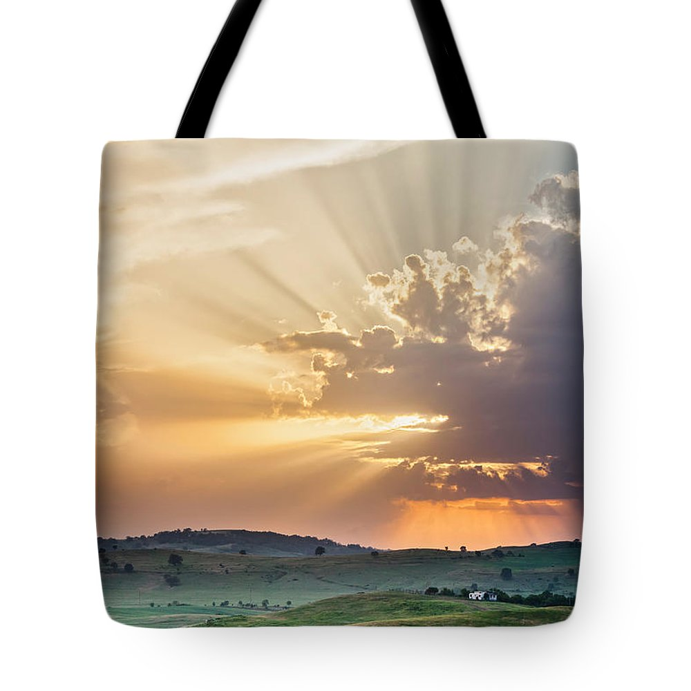 Bulgaria Tote Bag featuring the photograph Powerful Sunbeams by Evgeni Dinev