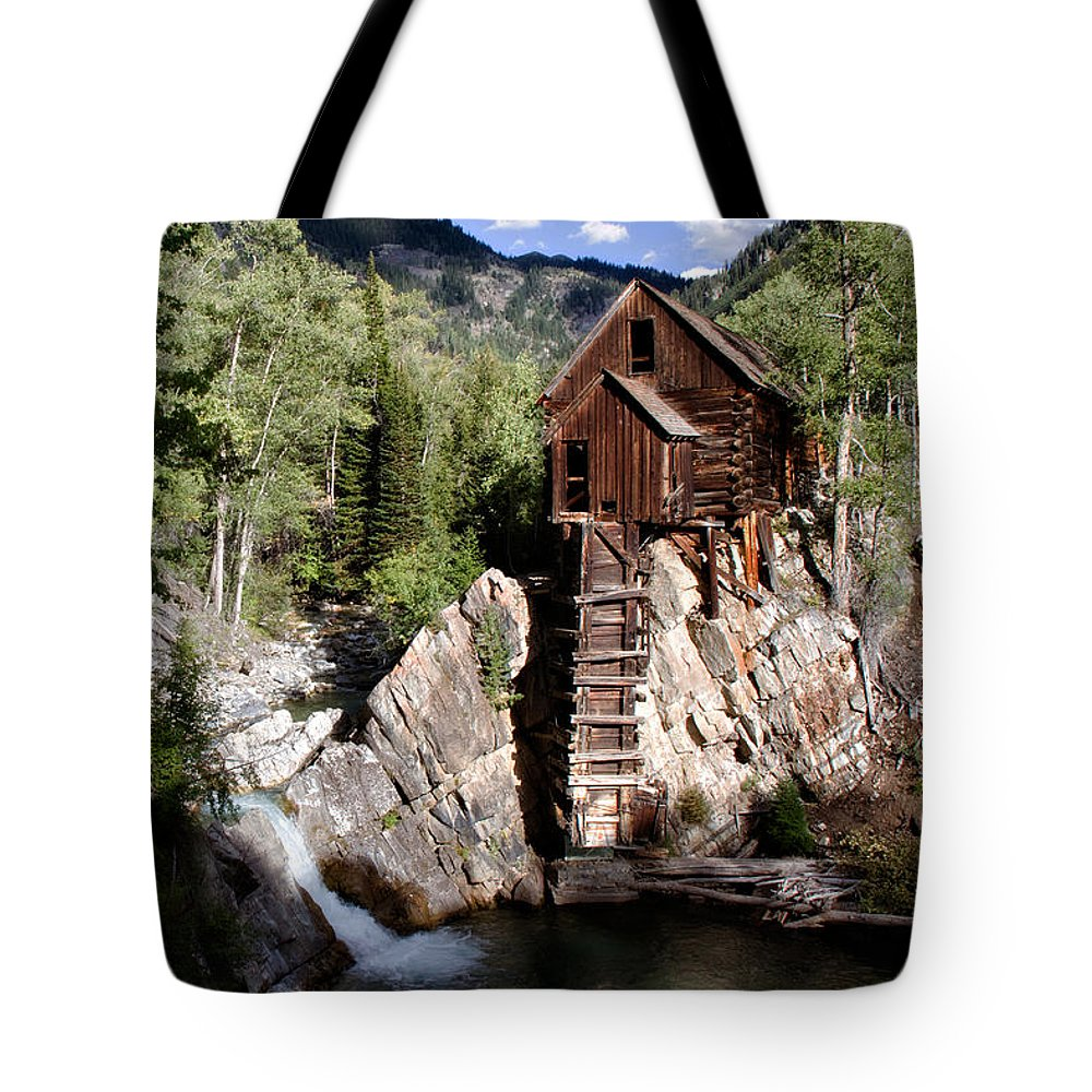 dead Horse Mill Tote Bag featuring the photograph Powerhouse On The Crystal by Lana Trussell