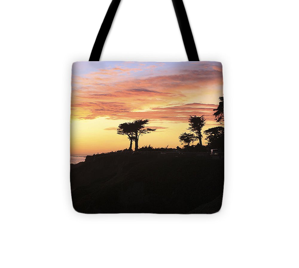 Landscape Tote Bag featuring the photograph pr 238 - Trees at Sunset by Chris Berry