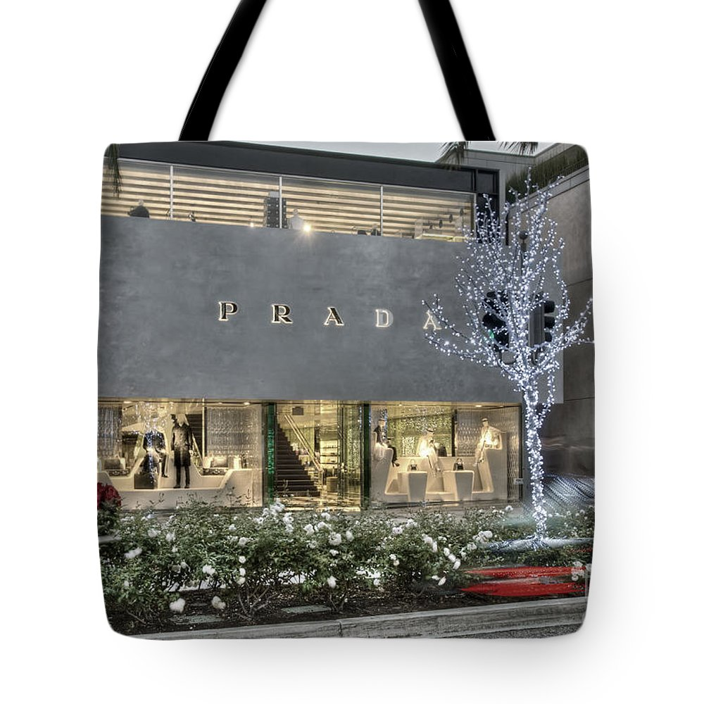 8c25fe27624e Prada Rodeo Drive Beverly Hills Ca Tote Bag featuring the photograph Prada  Rodeo Drive Beverly Hills
