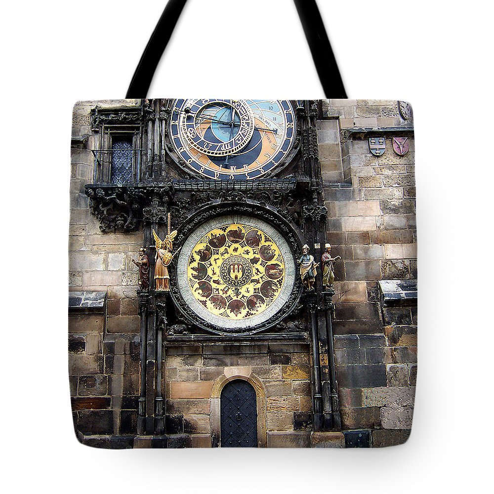 Astrology Tote Bag featuring the photograph Prague Astronomical Clock by Tom Conway