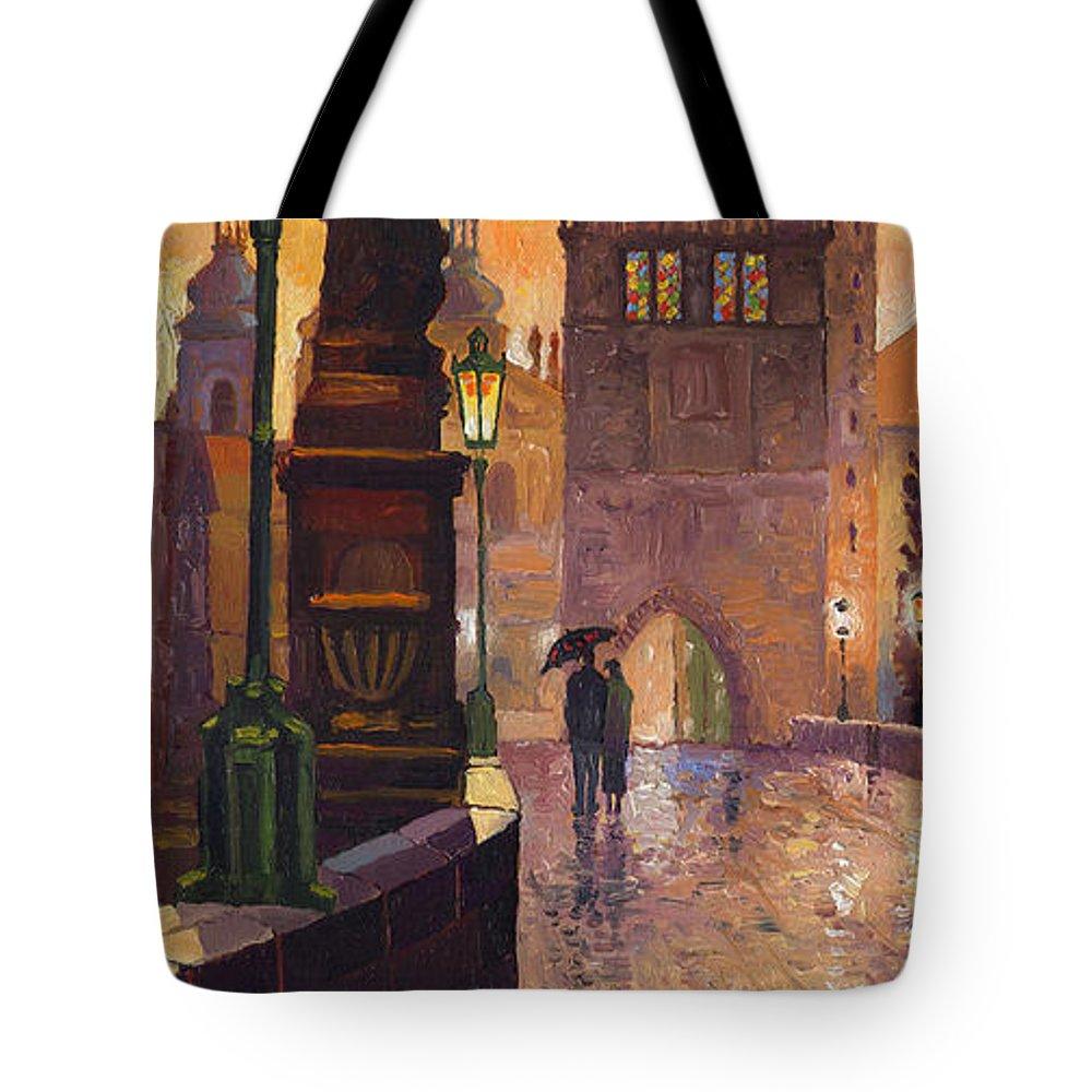 Prague Tote Bag featuring the painting Prague Charles Bridge 01 by Yuriy Shevchuk