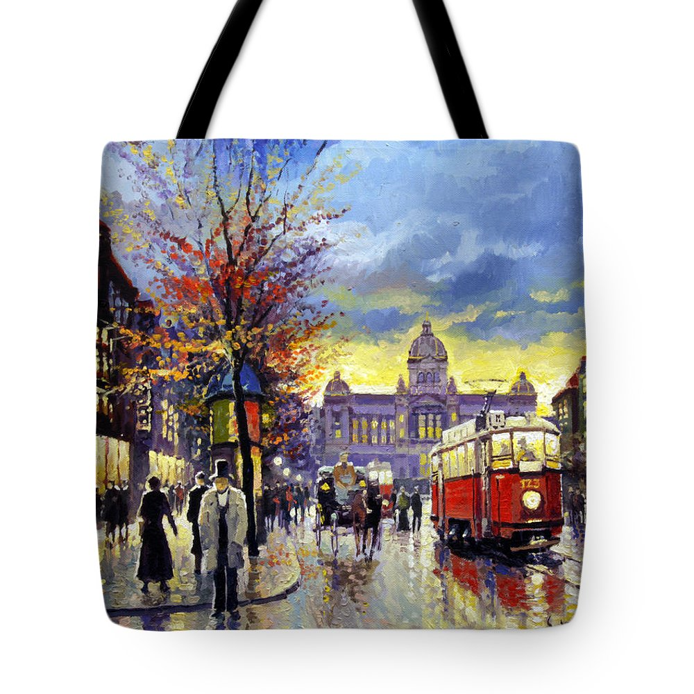 Oil On Canvas Tote Bag featuring the painting Prague Vaclav Square Old Tram Imitation By Cortez by Yuriy Shevchuk