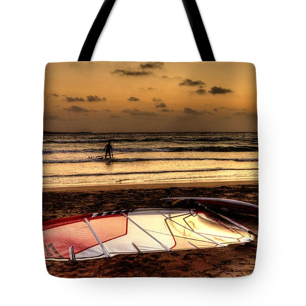 Romantic Tote Bag featuring the photograph Prasonisi - A Day Of Windsurfing Is Over by Julis Simo