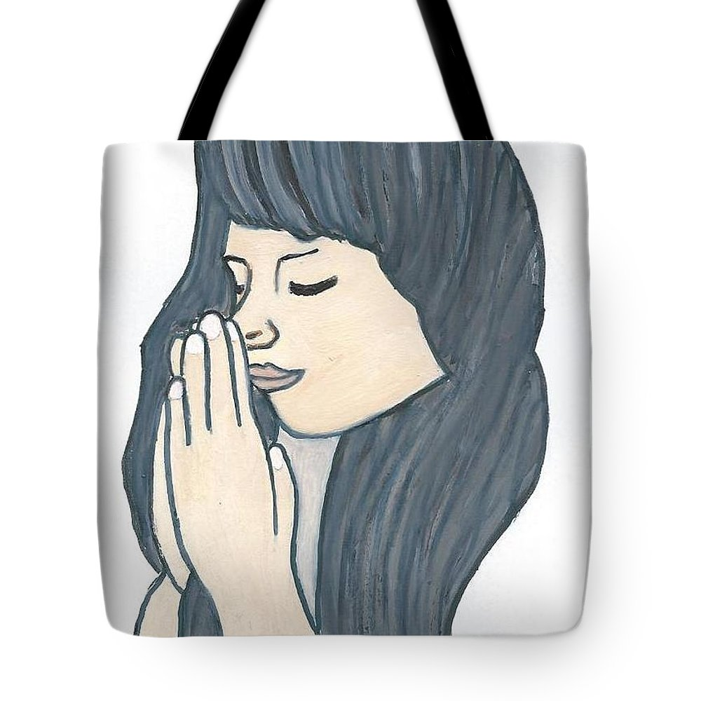 Woman Tote Bag featuring the drawing Praying Woman by Magdalena Frohnsdorff
