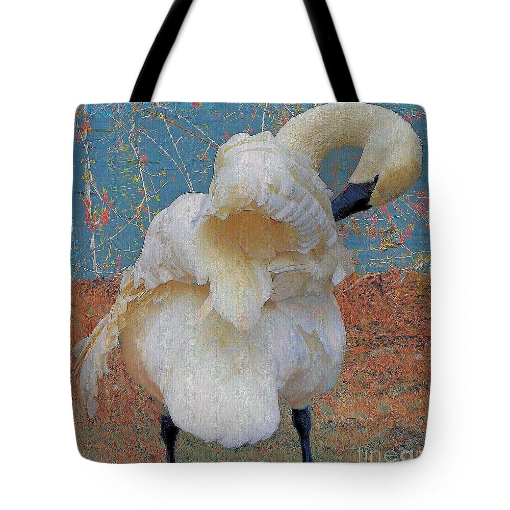 Swan Tote Bag featuring the photograph Preening Swan With Berries by Janette Boyd