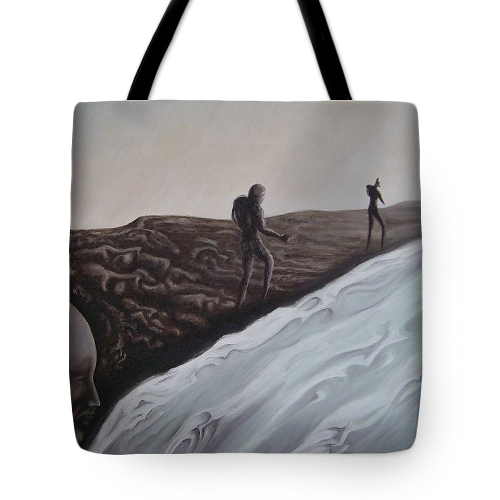 Tmad Tote Bag featuring the painting Premonition by Michael TMAD Finney