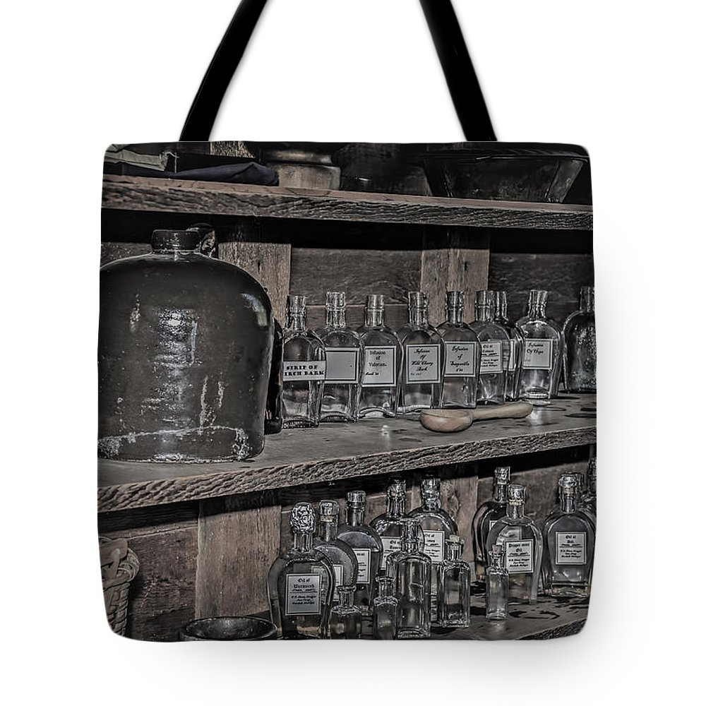 Ford Tote Bag featuring the photograph Prescription Drug Bottles Black And White by LeeAnn McLaneGoetz McLaneGoetzStudioLLCcom