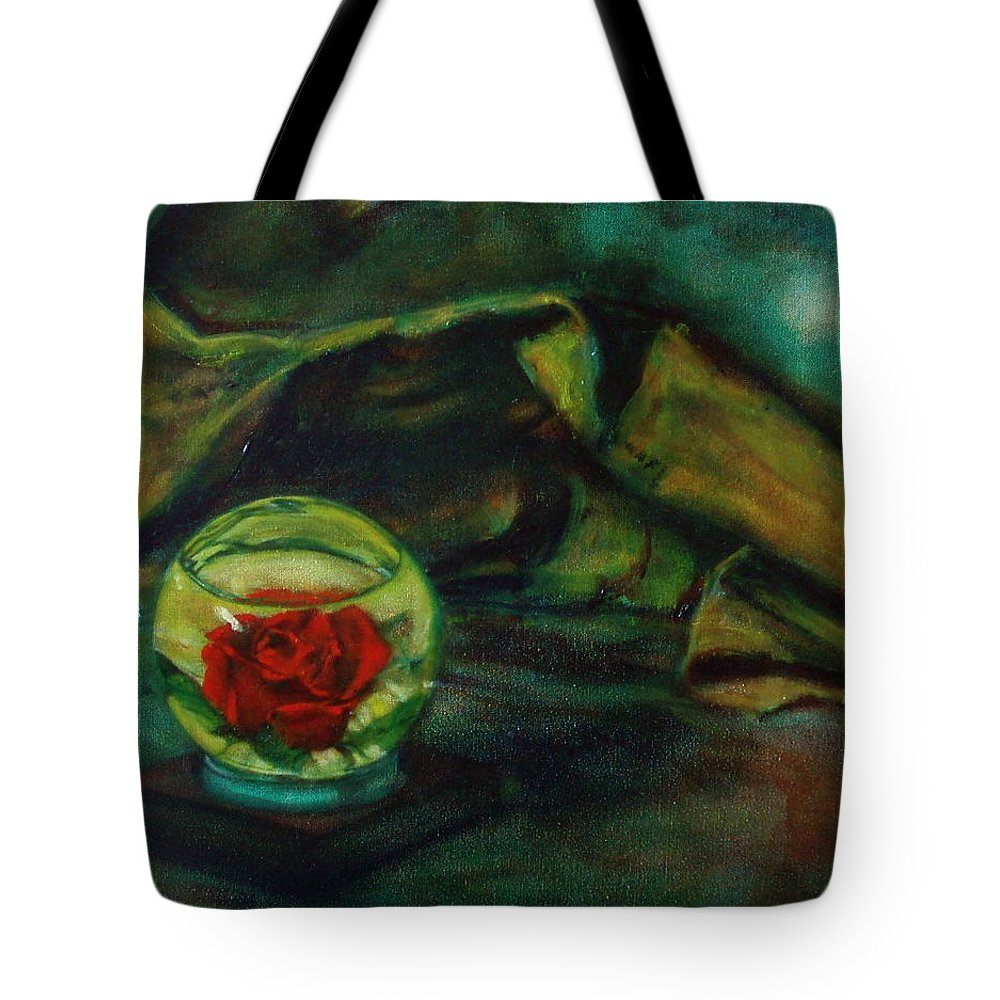 Still Life Tote Bag featuring the painting Preserved Rose . . Draped Canvas by Sean Connolly