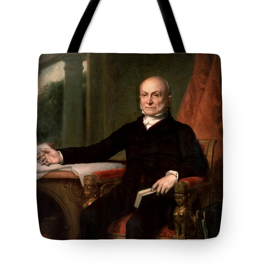 John Quincy Adams Tote Bag featuring the painting President John Quincy Adams by War Is Hell Store