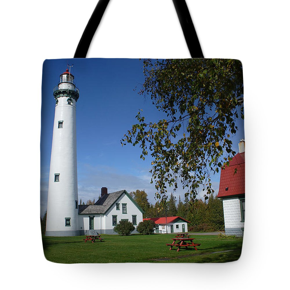 Lighthouse Tote Bag featuring the photograph Presque Isle Mi Lighthouse 4 by John Brueske