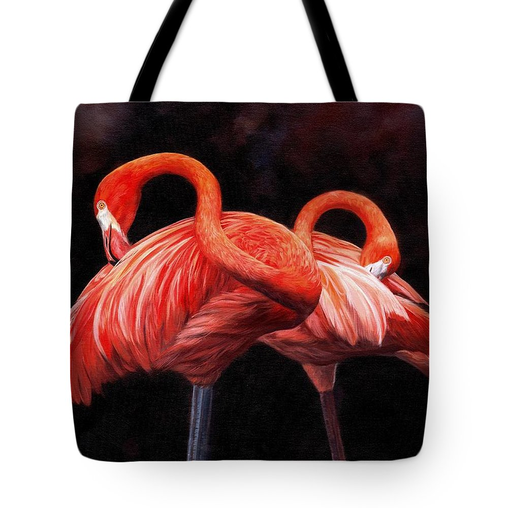 Birds Tote Bag featuring the painting Pretty In Pink by David Stribbling