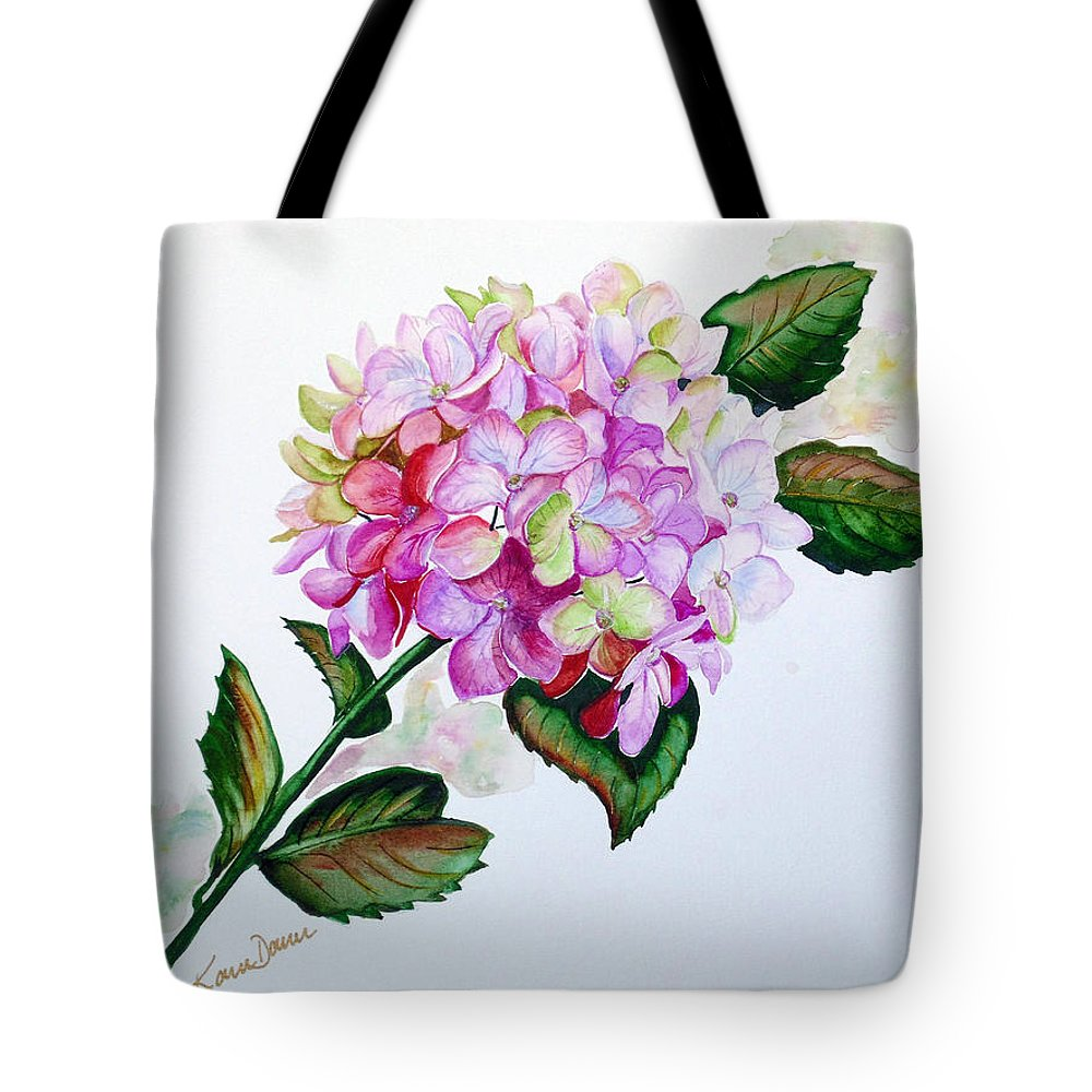 Hydrangea Painting Floral Painting Flower Pink Hydrangea Painting Botanical Painting Flower Painting Botanical Painting Greeting Card Painting Painting Tote Bag featuring the painting Pretty In Pink by Karin Dawn Kelshall- Best