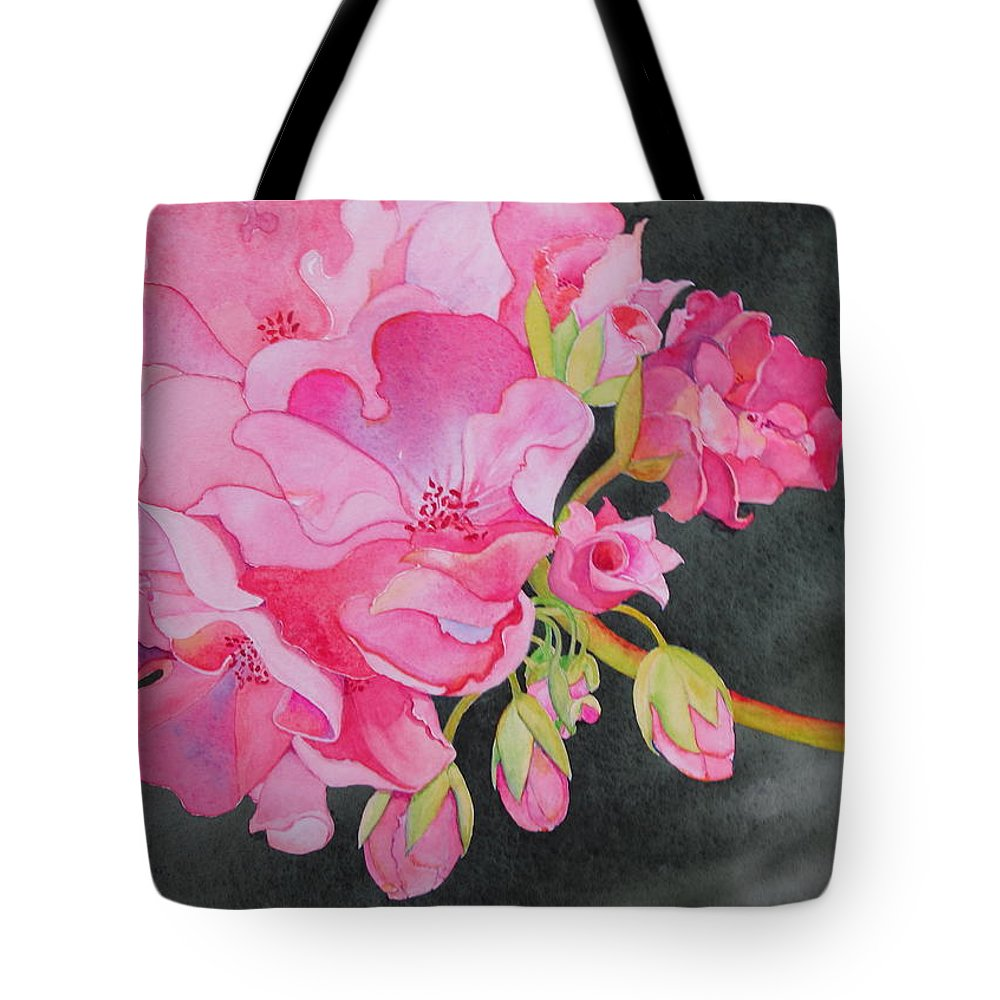 Geranium Tote Bag featuring the painting Pretty In Pink by Mary Ellen Mueller Legault
