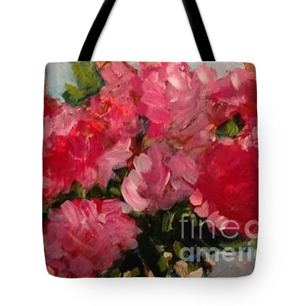 Floral Tote Bag featuring the painting Pretty In Pink by Sherry Harradence