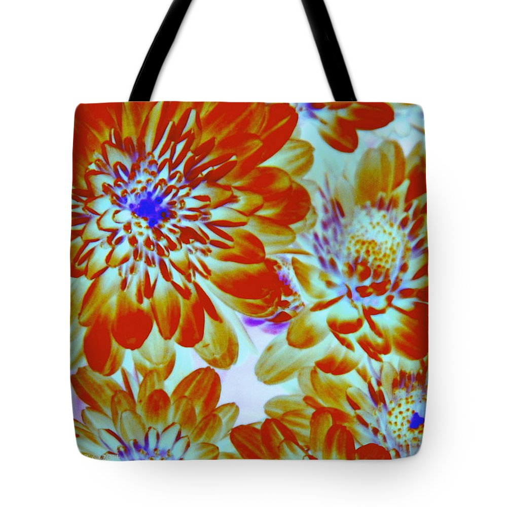 Abstract Tote Bag featuring the photograph Pretty Mums by Kathy Barney