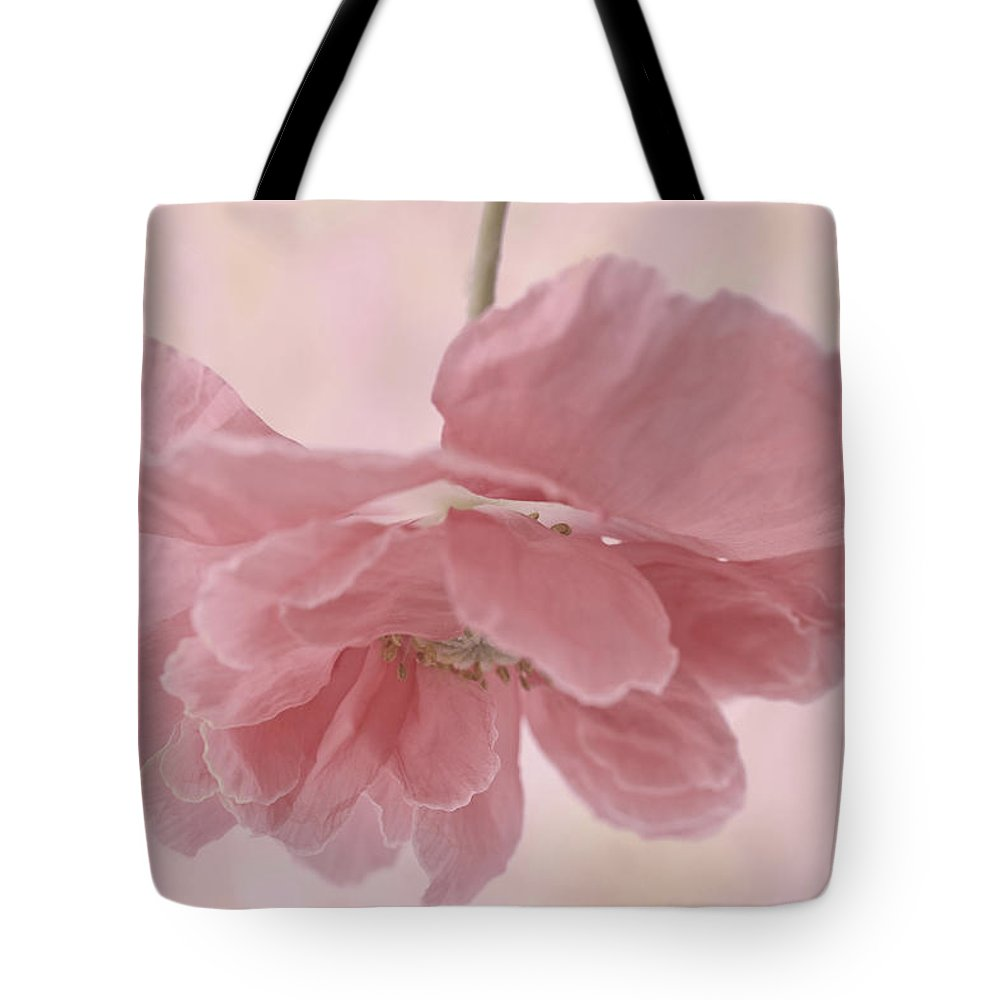 Poppy Tote Bag featuring the photograph Pretty Pink Poppy Macro by Sandra Foster