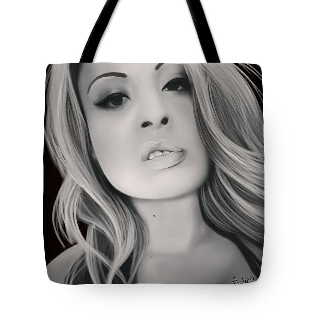 Photo Realism Tote Bag featuring the digital art Pretty Pusha by Muffin Jones