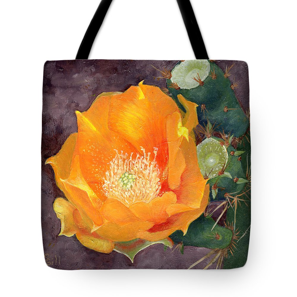 Nature Tote Bag featuring the painting Prickly Pear Blossom by Sue Sill