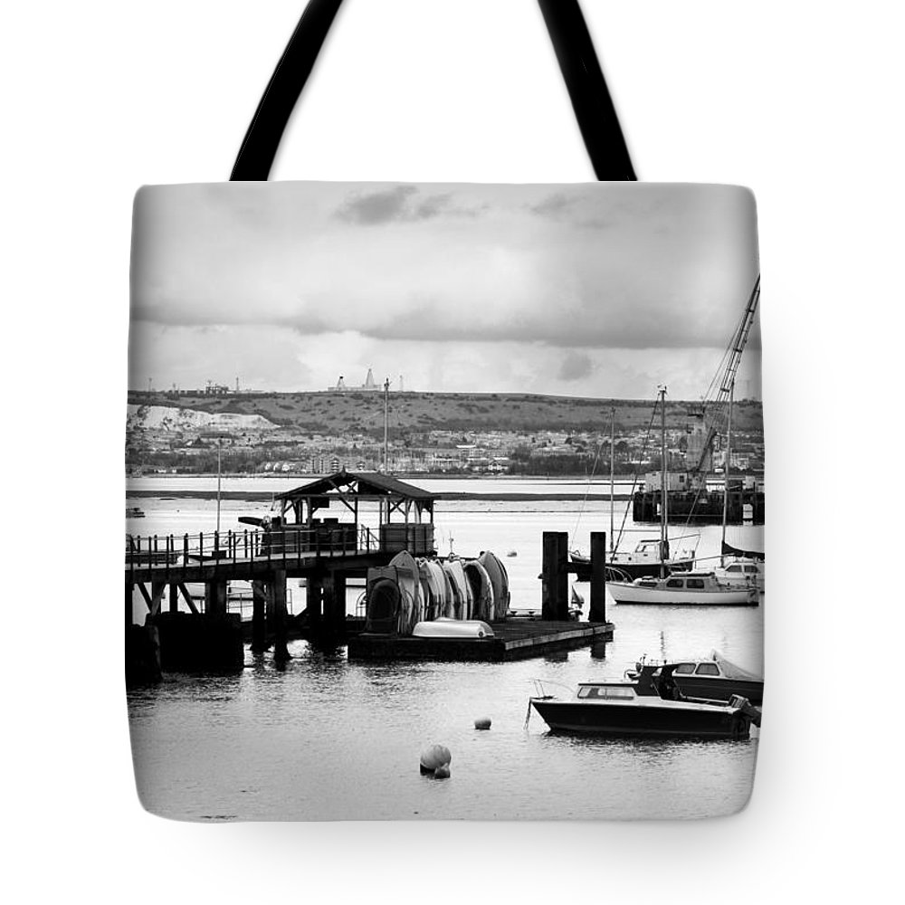Priddy's Hard Tote Bag featuring the photograph Priddy's Hard Boats by Terri Waters