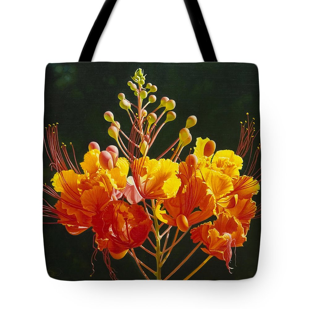 Floral Tote Bag featuring the painting Pride Of Barbados by Gary Hernandez