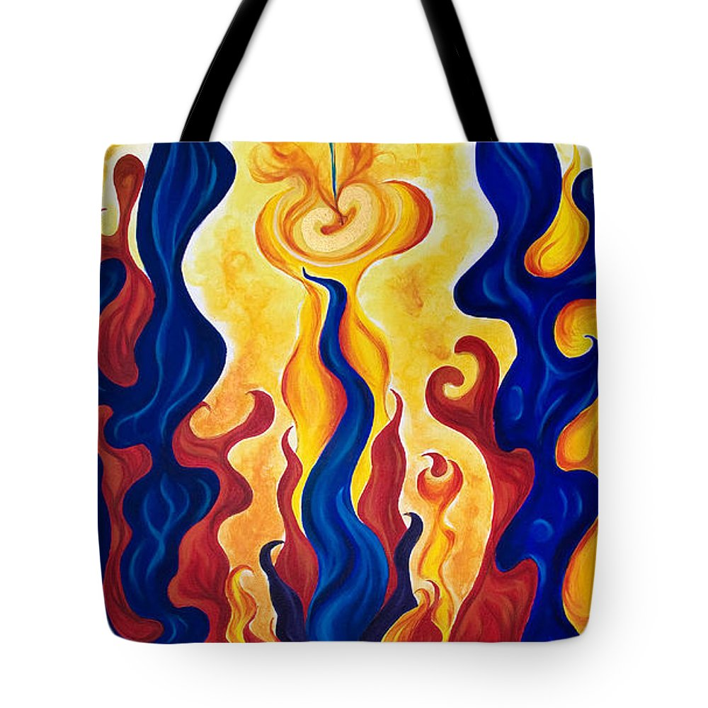 Acrylic Tote Bag featuring the painting Primary Fire by Jo-Anne Elniski