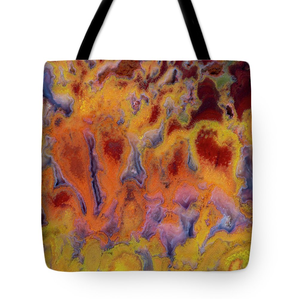 Mineral Tote Bag featuring the photograph Primo Jasper In Hot Colors by Darrell Gulin