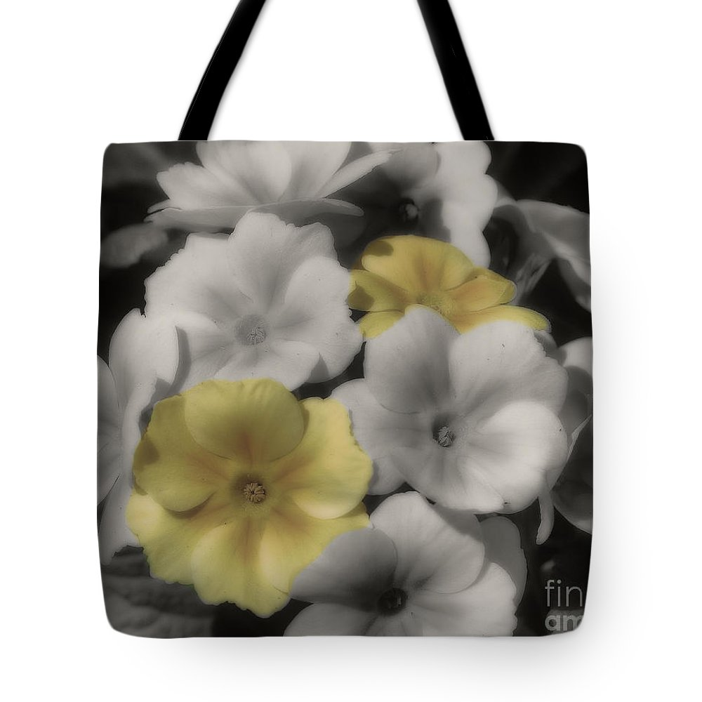 Primrose Tote Bag featuring the photograph Primrose Flowers by Smilin Eyes Treasures