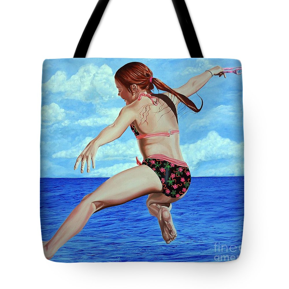 Ocean Tote Bag featuring the painting Princess Of The Ocean - Princesa Del Oceano by Rezzan Erguvan-Onal