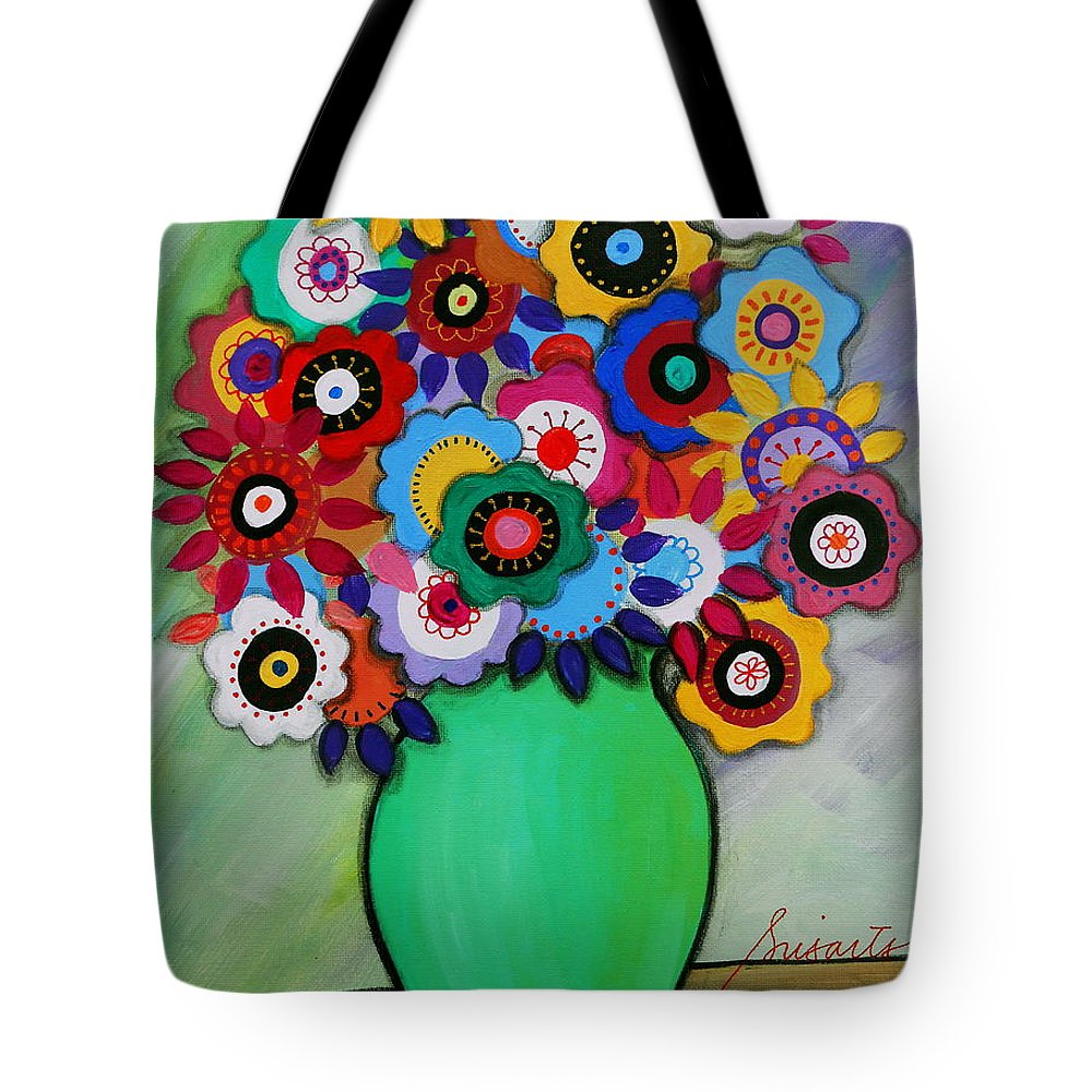 Still Life Tote Bag featuring the painting Prisarts Florals IIi by Pristine Cartera Turkus