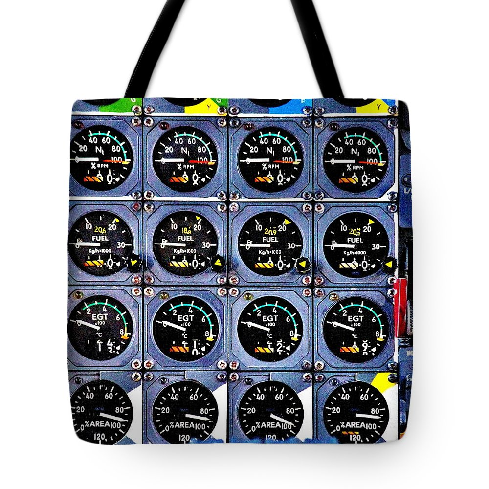 Cockpit Tote Bag featuring the photograph Concorde Controls by Benjamin Yeager