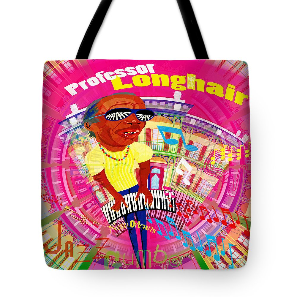 Jazz Tote Bag featuring the digital art Professor Longhair by Neil Finnemore