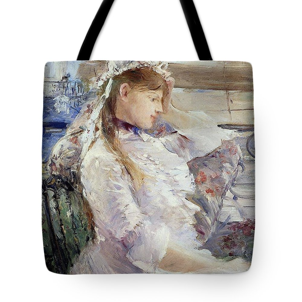 Female; Portrait; Half Length; White Dress; Gown; Impressionist; Outside; Bonnet; Frills; Frilly Tote Bag featuring the painting Profile Of A Seated Young Woman by Berthe Morisot