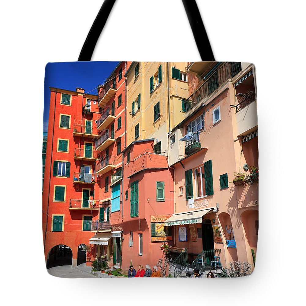 Ancient Tote Bag featuring the photograph promenade and homes in Camogli by Antonio Scarpi