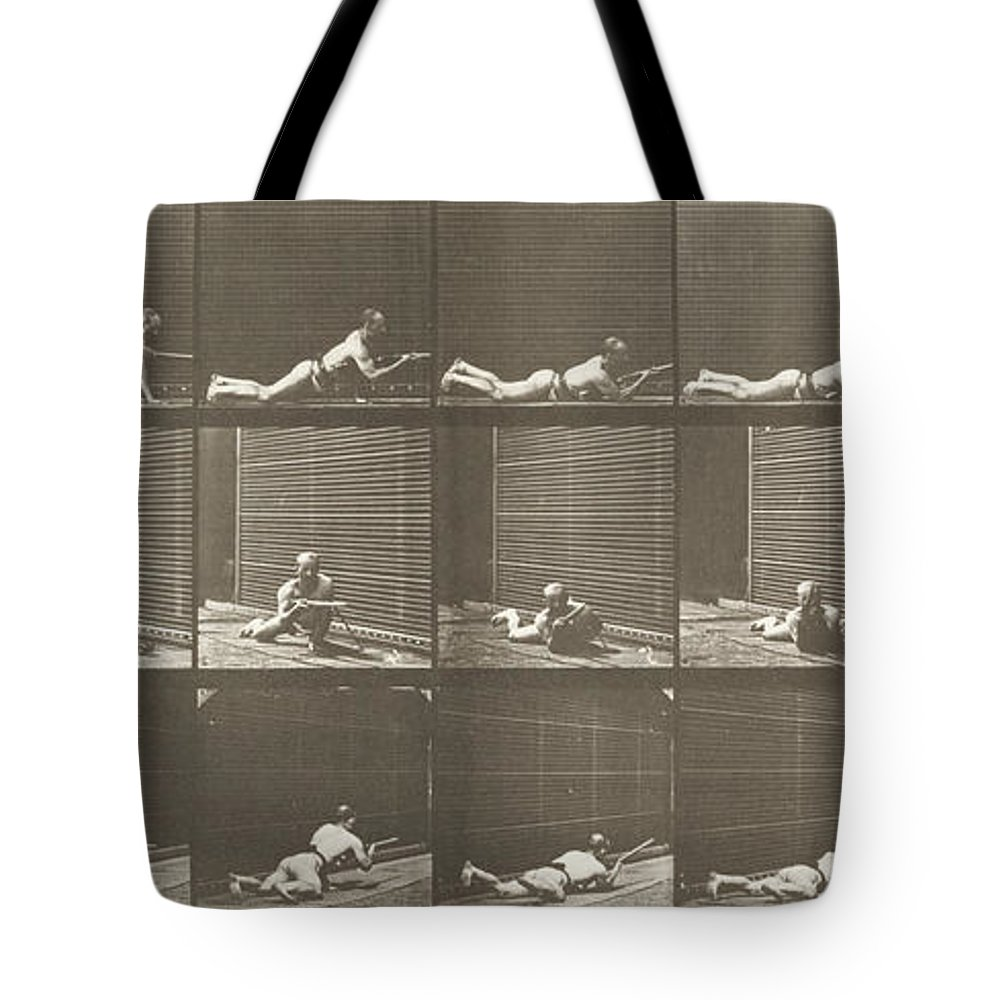 Jumping Tote Bag featuring the painting Prone And Firing A Bayonet by Celestial Images