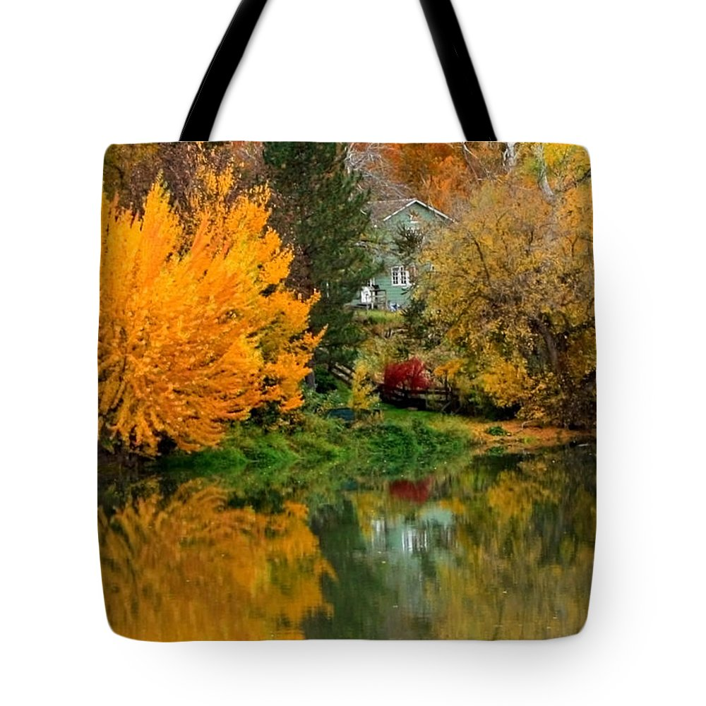 Fall Tote Bag featuring the photograph Prosser - Fall Reflection With Hills by Carol Groenen
