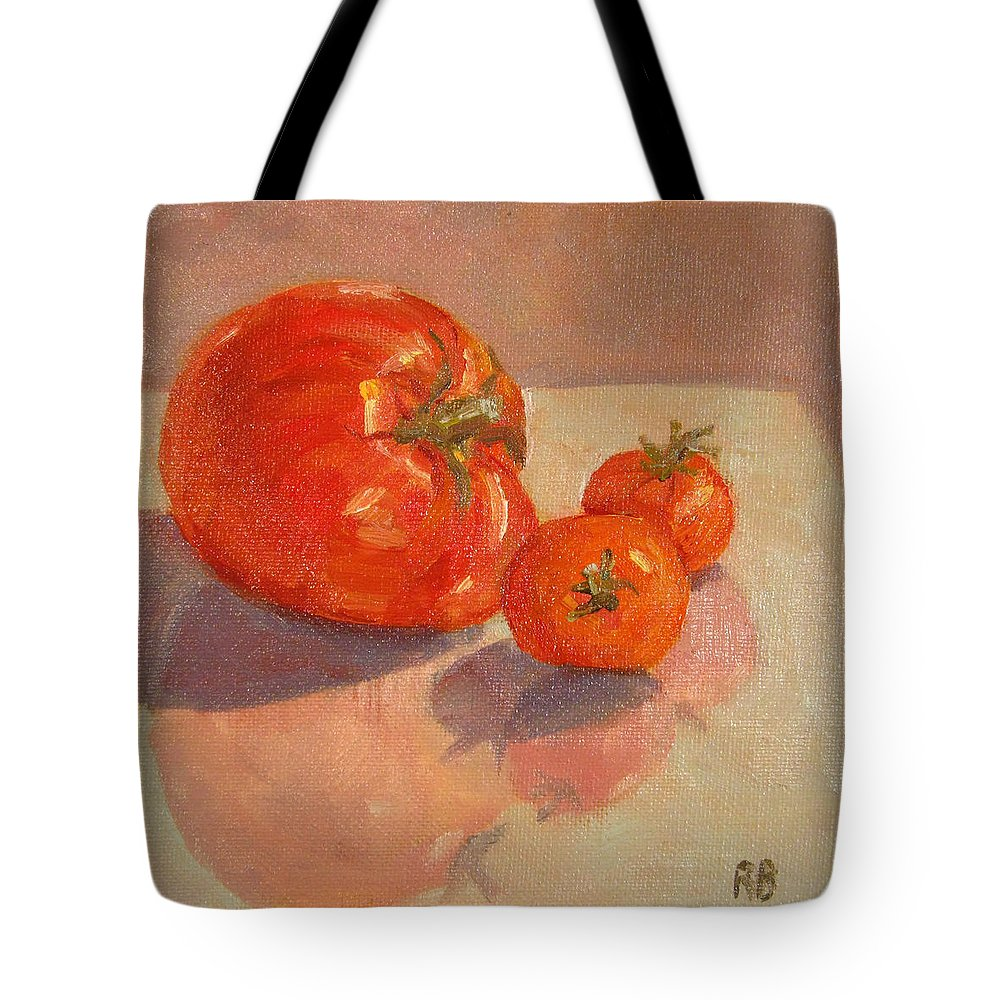 Tomatoes Tote Bag featuring the painting Proud Mama by Robie Benve