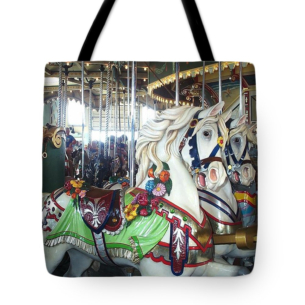 Carousel Tote Bag featuring the photograph Proud Prancing Ponies by Barbara McDevitt