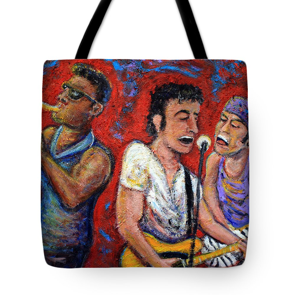 Bruce Springsteen Tote Bag featuring the painting Prove It All Night Bruce Springsteen And The E Street Band by Jason Gluskin
