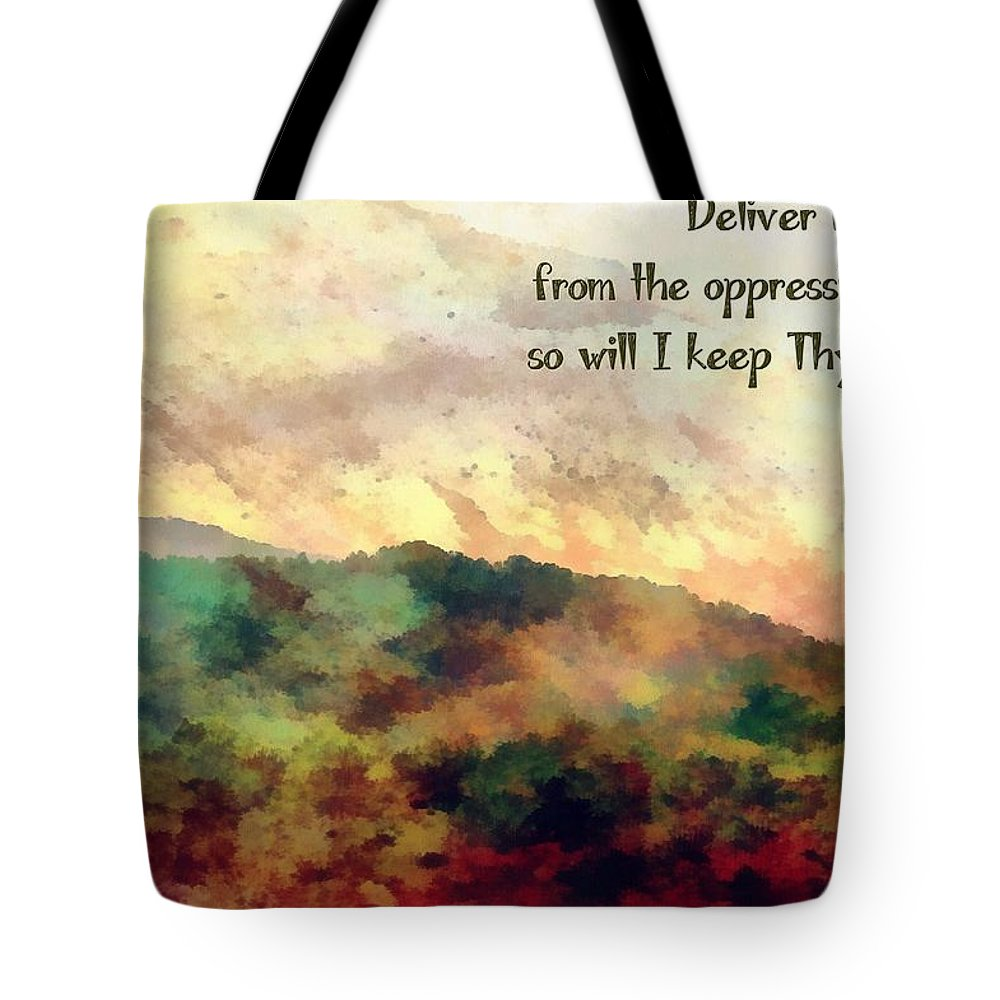 Jesus Tote Bag featuring the digital art Psalm 119 134 by Michelle Greene Wheeler